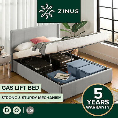 AU349 • Buy Zinus Bed Frame QUEEN DOUBLE Size Gas Lift Storage Upholstered Mattress Base