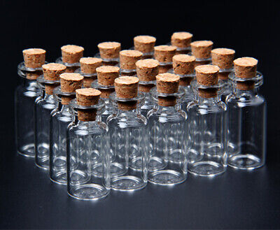 £4.89 • Buy 20 Pcs 2ml Empty Small Clear Glass Bottles With Cork Stopper Mini Jars Vials
