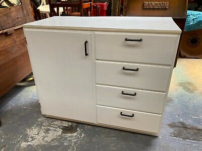 £64.79 • Buy Vintage 1950's 1960's White Wooden Kitchen Unit Drawers Cupboard Formica Top