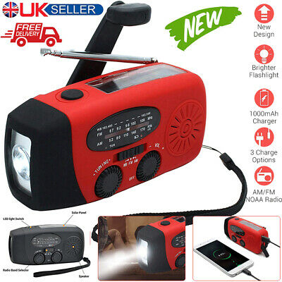 £14.09 • Buy Hand Crank Dynamo Wind Up Solar Portable AM FM Radio USB Charger Light Torch Red