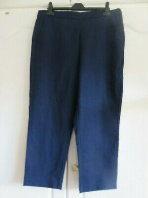 £9 • Buy M&S Quality Cotton Cropped Trousers 16 Long Straight Leg Navy Blue - Excellent