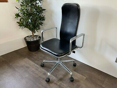 £695 • Buy Black Leather Fred Scott Hille Supporto Office Chair - Design Classic - LOOK !!