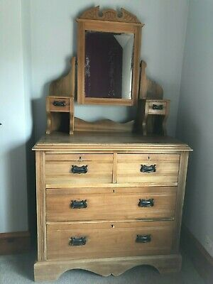 £75 • Buy Antique Victorian/Edwardian Pine Dressing Table With Mirror