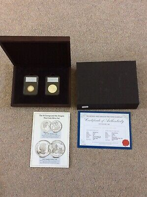 £22 • Buy St George And The Dragon 2013 £20 Silver 2014 $5 Silver Coin Set  COA Ltd End495