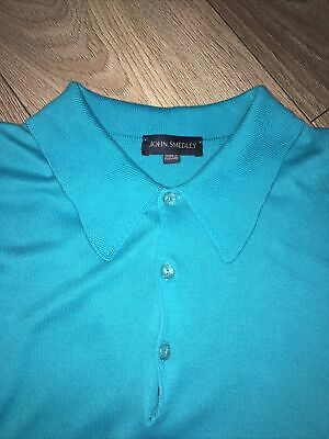 £11.50 • Buy Mens Bright Blue/turquoise John Smedley Long Sleeved Knitted Mod Top Large