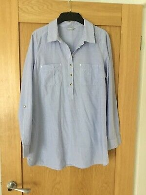 £6.99 • Buy Size 14 M &S Pale Blue Striped Cotton Chambray Shirt Cover Up