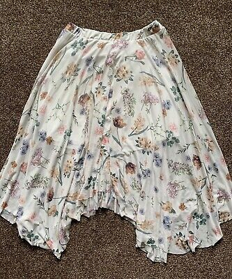 £1 • Buy New Look Size 18 Cream & Floral, Lined, Net, Elastic Waist Waterfall Skirt VGC