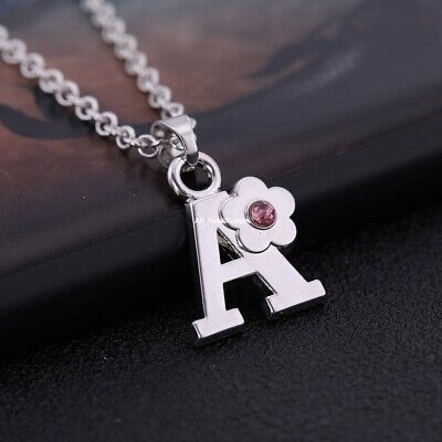 £7.99 • Buy CHILDREN's Jewellery Initial Letter Pink Crystal Flower Necklace Sterling Silver