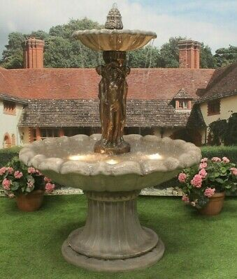 £543.84 • Buy Large 3 Grace Fountain Self Contained Stone Water Feature Garden Ornament