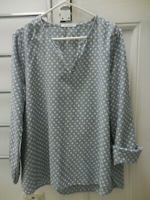 AU19.99 • Buy Trenery Country Road Blue White Dots Cotton Boxy Top Vgc 16 18