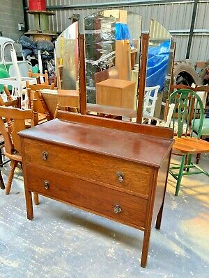 £71.99 • Buy Vintage Antique Brown Wooden Dressing Table Chest Drawers On Legs With 3 Mirrors