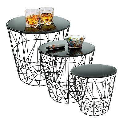 £34.99 • Buy Set 3 Round Nesting Side Tables Black Glass Mirror Metal Wire Living Room Modern