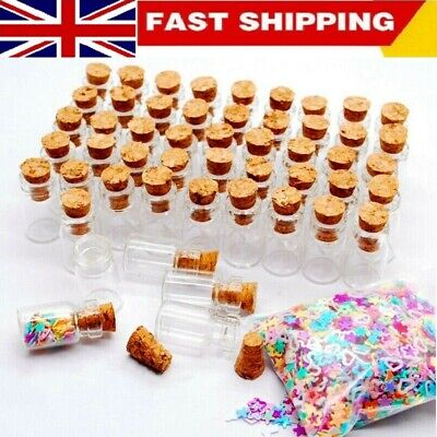 £3.99 • Buy 10/20X 2ml Tiny Mini Empty Clear Glass Jars Bottles With Corks Stoppers Vials UK
