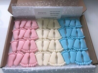 £6.99 • Buy CUTE Baby Shower Christening Favours WAX FEET Pink Blue White Boy Girl 10 Pairs