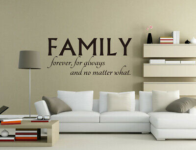 £4.80 • Buy Family Forever Always No Matter Wall Stickers Vinyl Mural Decal Quote UK Pq203