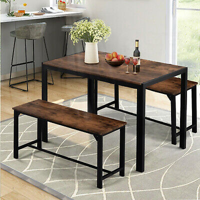 £99.97 • Buy Industrial Dining Table Set W/2 Wooden Chairs Bench Seat Kitchen Home Furniture