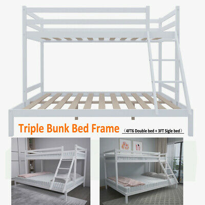 £189.80 • Buy Triple Bunk Beds Double Bed With Stairs For Kids Children White Wooden Bed Frame