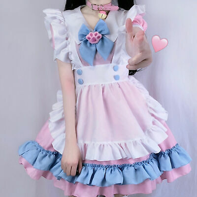 $39.60 • Buy S-4XL Plus Size Maid Outfit, Big Bow Dress, Women's Pink And Blue Cute Dress