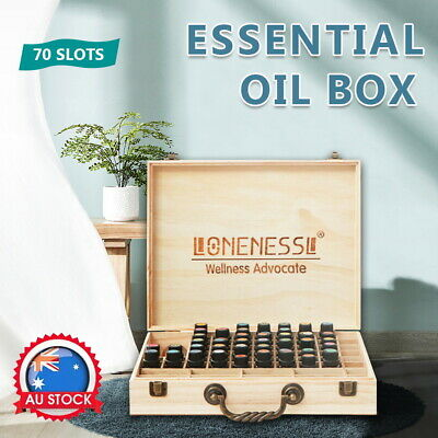AU17.05 • Buy 70 Slots Aromatherapy Essential Oil Storage Box Wooden Case Holder Container
