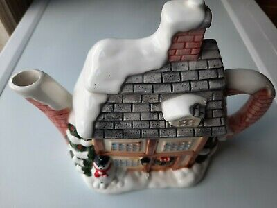 £3.85 • Buy Annie Rowe - The Village - Collectable Winter Cottage Teapot - Western House