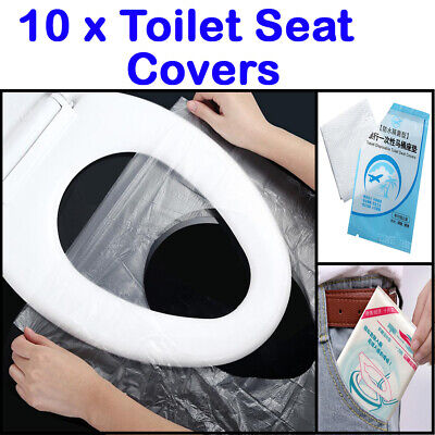 £0.70 • Buy 10pcs Disposable Toilet Seat Cover Travel Safety PE Plastic Waterproof Portable