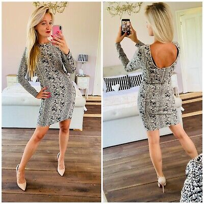 £35 • Buy Reiss Fion 6 £169 Snake Print Dress Open Back Bodycon Structured Rock Chic Party