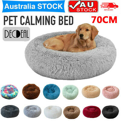 AU13.24 • Buy 70cm Comfy Calming Dog/Cat Warm Bed Pet Round Soft Plush Marshmallow Puppy Beds
