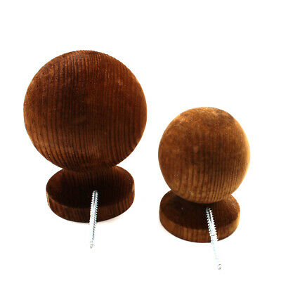£6.99 • Buy Wooden Fence Post Ball Finial For 3  Or 4  Post - Brown Treated Wood Inc Fixings