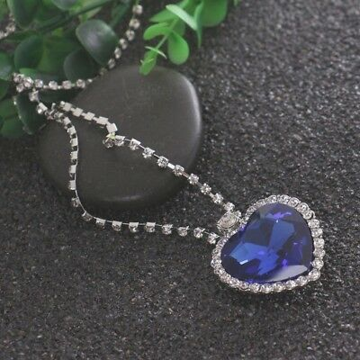 £1.05 • Buy Large Heart Of The Ocean Titanic Ship Blue Crystal Stone Pendant Silver Necklace