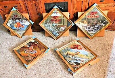 $375 • Buy Set Of 5 Of 6 MILLER BEER 3rd WILDLIFE MIRRORS (Mint In Box) ARTIST SIGNED!!