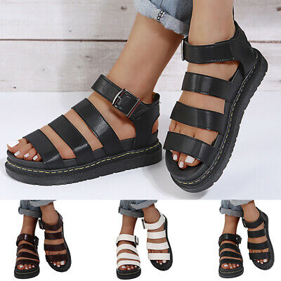 £15.19 • Buy  Womens Chunky Sandals Thick Sole Strappy Flatforms Shoes Summer Gladiator Shoes