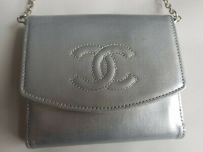 AU311.05 • Buy Authentic Chanel Wallet On Chain Woc Silver Timeless Crossbody Leather Purse Bag