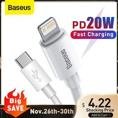 AU7.19 • Buy Baseus USB C Type C PD 20W Cable Fast Charging Charger For IPhone 13 12 11 Pro X