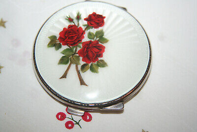 £210 • Buy Silver And Guilloche Enamel Compact With Rose Feature Hallmarked B'ham 1955