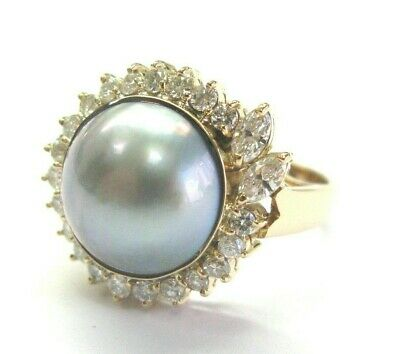 $1550 • Buy Mabe Pearl & Diamond Ring 18Kt Yellow Gold 13mm .85Ct