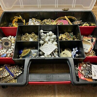 $ CDN26.19 • Buy Vintage New Junk Jewelry Lot Necklace Rings Estate Antique Silver Gold Filled