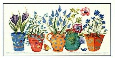 £15 • Buy * Discontinued Dmc Spring Flowers Large Cross Stitch Kit 28 Count Linen *