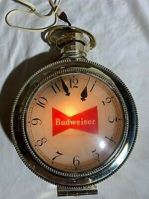 $ CDN342.39 • Buy Vintage BUDWEISER Beer ROTATING Pocket Watch Lighted Clock Sign. Clydesdales