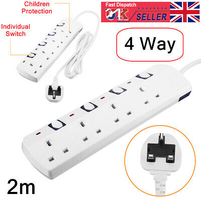 £11.29 • Buy 2m 4 Way Gang Surge Protected Mains Extension Lead Switched 13A Socket UK Plug