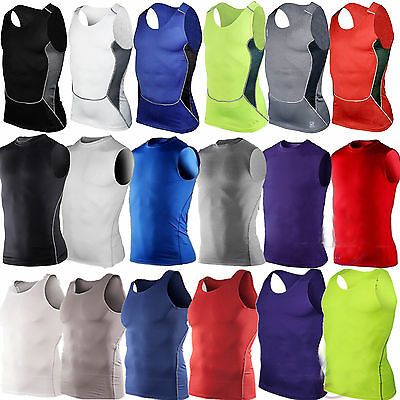 £6.29 • Buy Man Athletic Compression Base Layer Vest Tops Gym Sports Fitness Running Shirts