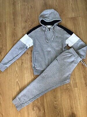 £25 • Buy Lacoste Mens Tracksuit  Hoodie Sweater Top Joggers Pale Grey Small Mens