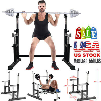 $ CDN171.24 • Buy Squat Rack Adjustable Bench Press Weight Exercise Barbell Stand Gym Fitness