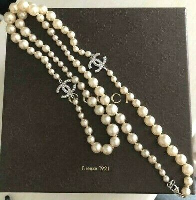 £558.60 • Buy Chanel Long Necklace Coco Motif Pearl White Rhinestone 34.6inch