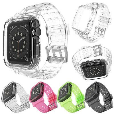 AU12.99 • Buy TPU Clear Case With Band Strap 42/38/40/44mm For Apple Watch Series 6 SE 5 4 3/2