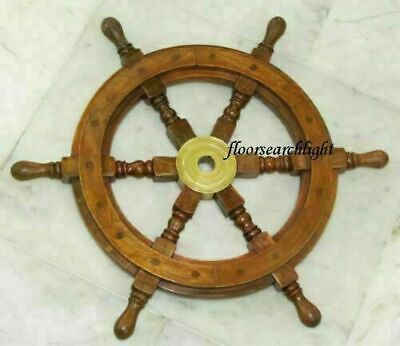 £43.66 • Buy 18  Nautical Wooden Ship Steering Wheel Pirate Décor Handmade Vintage Wall Boat