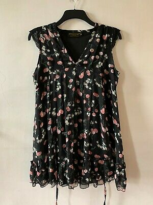 £9.99 • Buy Pussycat London Size Large 14 16 Black Floaty Cherry And Cherry Blossom Top