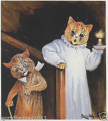 £2.99 • Buy Louis Wain Cat Print Cats Midnight Stairs Drunk Nightgown Candle