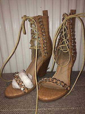 £0.99 • Buy Ladies Missguided Tan Patent Snakeskin Heels Shoes Size 5 38 Gold Chain Lace Up