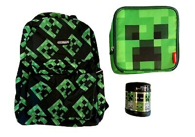 £28.33 • Buy Minecraft Creeper Backpack With Thermos Funtainer SS Food Jar & Lunch Bag Tote
