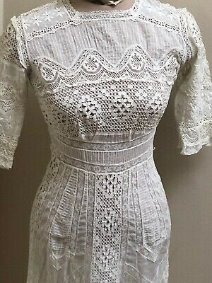 £43.30 • Buy Exquisite Vintage Edwardian White Embroidered Lace Tea Dress XS